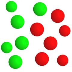 green balls - red balls