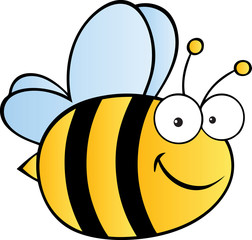 Cute Cartoon Bee.Vector illustration