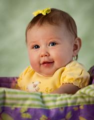 Cute Baby Portrait on Green