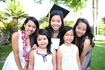 Asian Family Celebrating Graduation