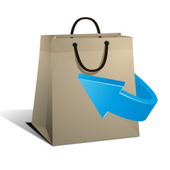 sac de shopping et flèche