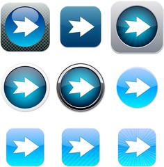 Forward arrow blue app icons.