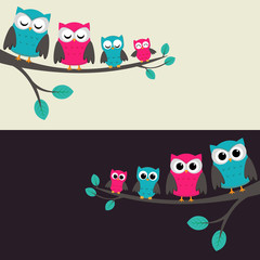Canvas Prints Owls cartoon Family of owls sitting on a branch. Two variations.