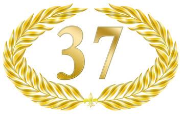 jubiläum lorbeer 37  geburtstag gold edel