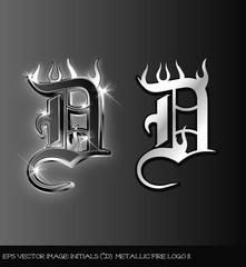 Fototapeta eps Vector image:initials(d) metallic fire logo II obraz