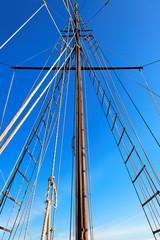 Mast of wooden sailing boat