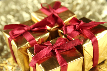 Colorful gift boxes tied with ribbons