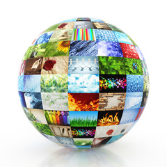 Sphere made of a collection of photos