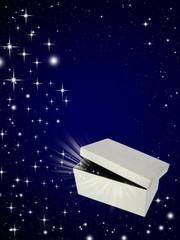 Open magic gift box on night sky background