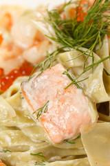 pasta with salmon and caviar