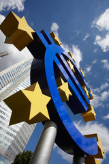 Euro Sign in front of the European Central Bank, Frankfurt