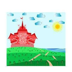 Printed kitchen splashbacks Castle Fairytale landscape with red magic castle. vector