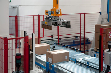 Automated warehouse with robots
