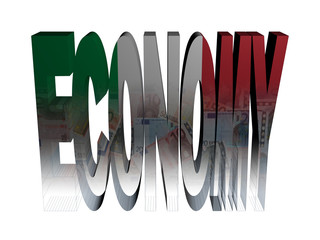 Economy text with Italian flag and euros illustration