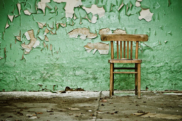 Wooden Chair in Abandoned Building