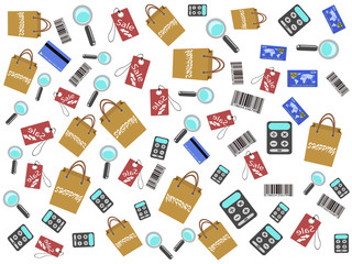 shopping icons seamless background