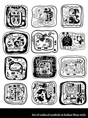 Set of graphic zodiacal symbols in Indian Maya style.
