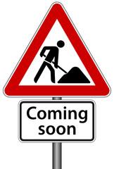 Coming soon Schild Baustelle Seite im Aufbau