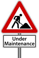 Under Maintenance Schild Baustelle Seite im Aufbau