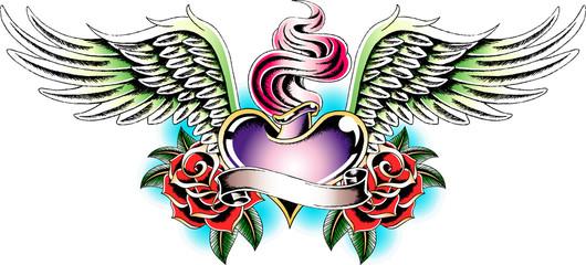 heraldic angel heart tattoo