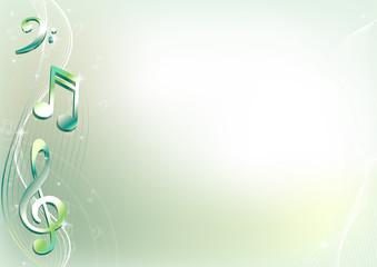 Зеленый фон с нотами