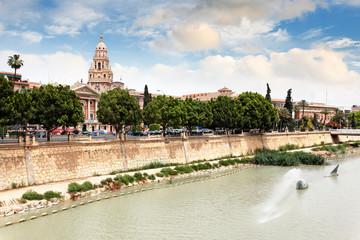 Blick auf Rathaus und Rio Segura in Murcia, Spanien