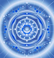abstract blue pattern, mandala of vishuddha chakra vector