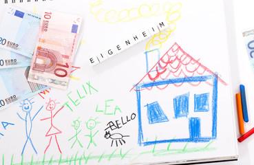 eigenheim geld kinderbild haus