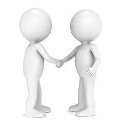Friends. 3D little human characters shaking hands.