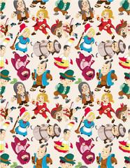 cartoon story people seamless pattern