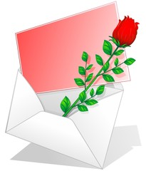 Rosa Rossa Biglietto Amore-Red Rose Love Letter-Vector