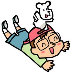 子供と白いネズミ