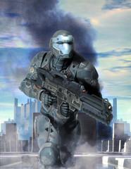 Wall Mural - futuristic soldier armor at war