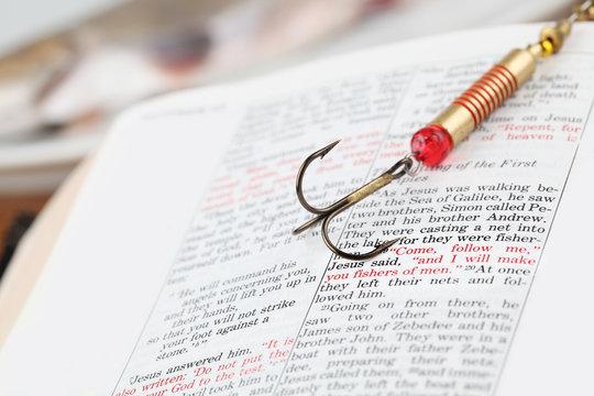 Fishing hook on Matthew 4:19 - fishers of men