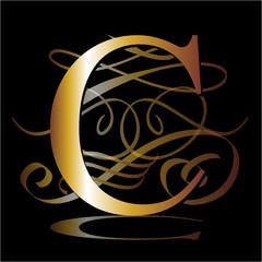initial, gold, C