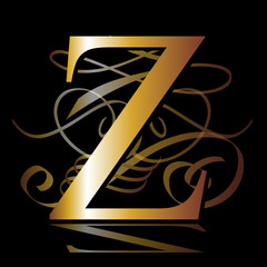 initial , gold, Z
