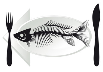 fish bones on plate, vector