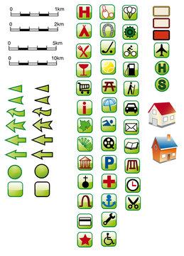65 Kartensignaturen grün in SVG