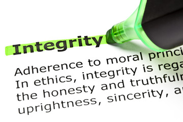 Dictionary definition of the word Integrity