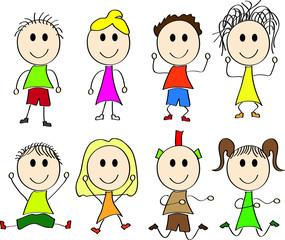 Wektorowy rysunek szczęśliwe dzieci