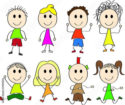 Wektorowy Rysunek Szczesliwe Dzieci