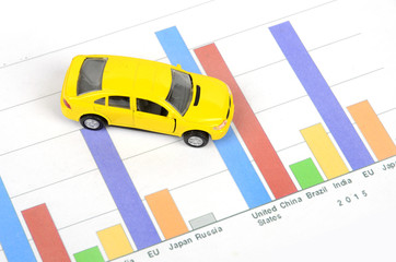 Business chart and toy car