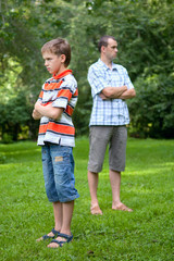 Conflict of father and son, park