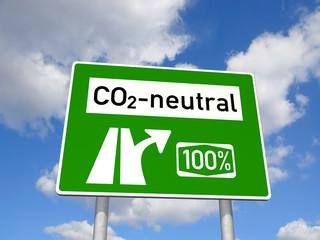 Schild CO2-neutral