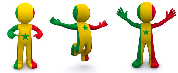 3d character textured with flag of Senegal