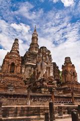 Ruin pagodas in sukhothai tiled right