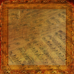Wooden frame in Victorian style on the abstract ancient backgro