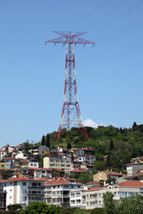 Electrical tower over residential buildings in Istanbul