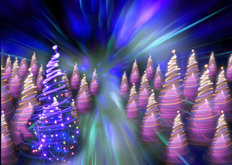 christmas forest from the color lights