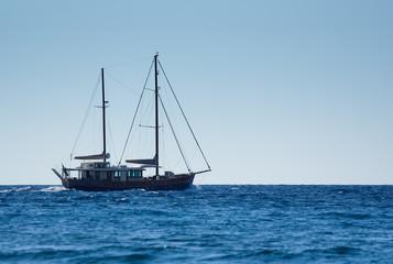 Sail boat on open sea